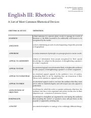 EGN313 English III Rhetorical Devices Hand-out