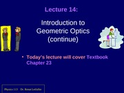 Intro to geometric optics 2