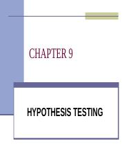 QMT 261 - CHAPTER 9 - HYPOTHESIS TESTING