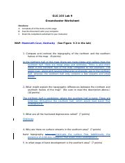 GLG103 Lab 09 - Groundwater Worksheet