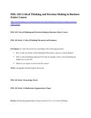 PHL 320 Critical Thinking and Decision Making in Business Entire Course