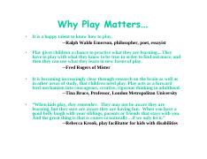 Workshop-Why Play Matters