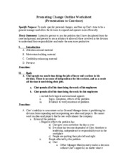 Promoting Change Outline Worksheet - Filled In