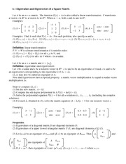 Lecture Notes on Eigenvalues and Eigenvectors of a Square Matrix