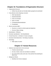 Organization Structure & Human Resources