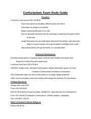 STUDY GUIDE Confucianism