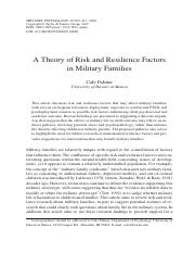 Theory of Risk and Resilience in Military Families