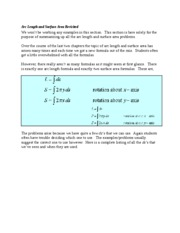 Arc Length and Surface Area Revisited