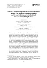 Sexual compulsivity in heterosexual married adults The role of sexual excitation and sexual inhibiti