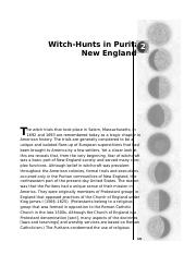 Witch-Hunts in Puritan New England