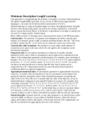 Minimum Description Length Learning notes