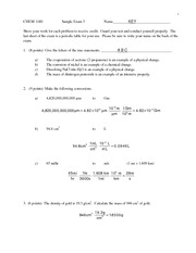 Sample Test 3 Key on General Chemistry 1