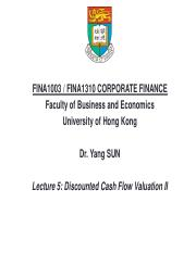 Lecture 5 Discounted Cash Flow Valuation II