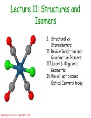 Lecture 11 - Structures and Isomers