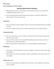 Sports Management Seminar Behavioral Based Interview Questions