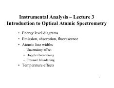 Lecture 3 - Introduction to Optical Atomic Spectrometry