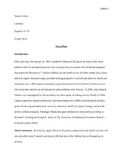 ENG 111 Essay plan for poverty essay