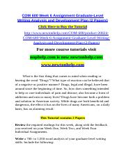 COM 600 Week 6 Assignment Graduate-Level Writing Analysis and Development Plan (2 Papers).doc
