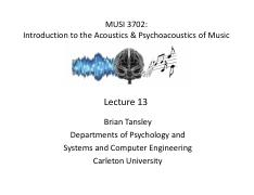 Lecture 13 - Brian Tansley - Psychophysics  Music