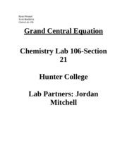 Grand Central Equation Lab Report