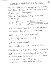 Lecture 22 Analysis of State Equations