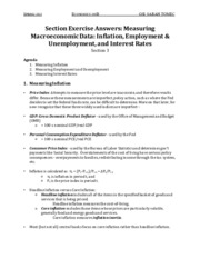 ECON 100B Section Notes - Inflation, Unemployment, Interest Rates