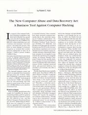 The New Computer Abuse and Data Recovery Act A Business Tool against Computer Hacking