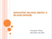 Donating Blood, Being a Blood Donor