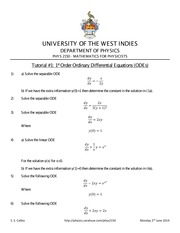PHYS 2150 - Differential Equations Tutorial 1