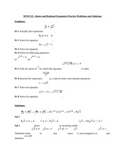 MTH 122 –Roots and Rational Exponents Practice Problems and Solutions