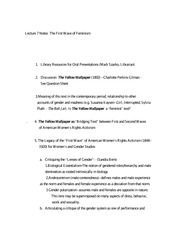 Lecture 7 Notes The First Wave of Feminism
