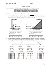 EW7 Energy Concepts - Work Energy and Power Name Energy ...