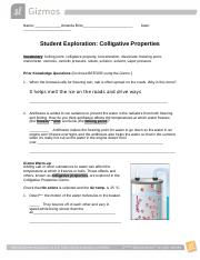Gizmo Colligative Properties Student Lab Sheet.docx - Name ...