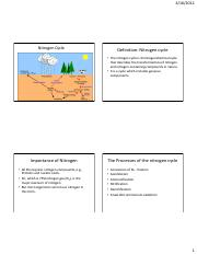 Lecture 22-Nitrogen Cycle