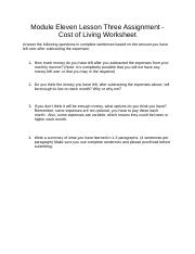 Cost of Living Worksheet (1)