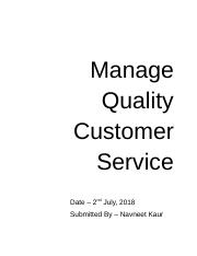 Manage quality Customer Service.docx