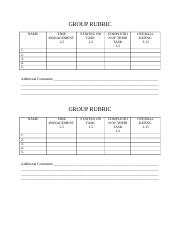 GROUP RUBRIC for lord of the flies