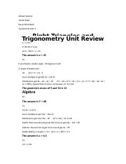 Geometry B Unit 4 - Right Triangles and Trigonometry Unit Sample Work.docx