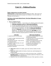 Federal Government Class Notes UNIT12