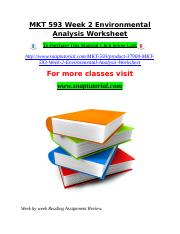 MKT 593 Week 2 Environmental Analysis Worksheet.doc
