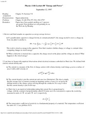 Physics 116a_Lecture Notes on Electric Energy and Power