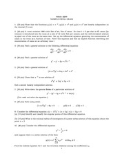 Sample Final Exam  on Ordinary Differential Equations