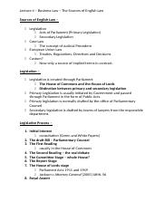 Lecture 4 - Business Law - The Sources of English Law.docx