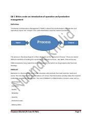 Write a note on introduction of operation and production management