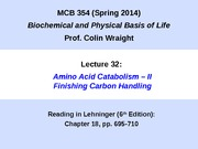 MCB 354 Finishing Carbon Handling Lecture