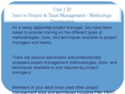 Unit 1 IP  Intro to Project & Team Management - Methodogy Presentation 06 16 2013