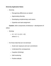 Diversity Application Notes