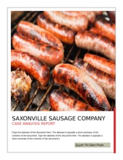 Saxonville Sausage Company Case Analysis Quynh Pham