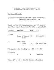 Expected Value Calculation