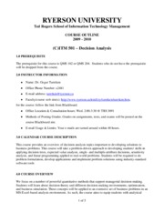 ITM501 Course Outline Fall09